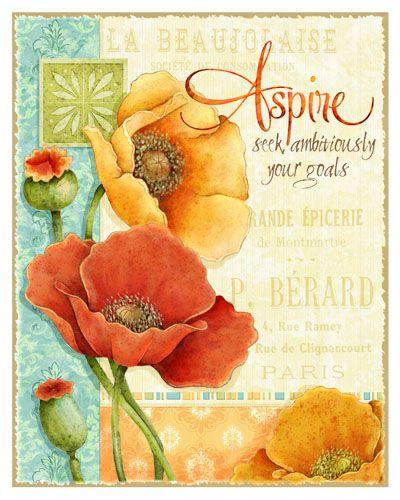 Joy Hall #Illustration #Flower #Scrapbook #vintage #art journal #decoupage