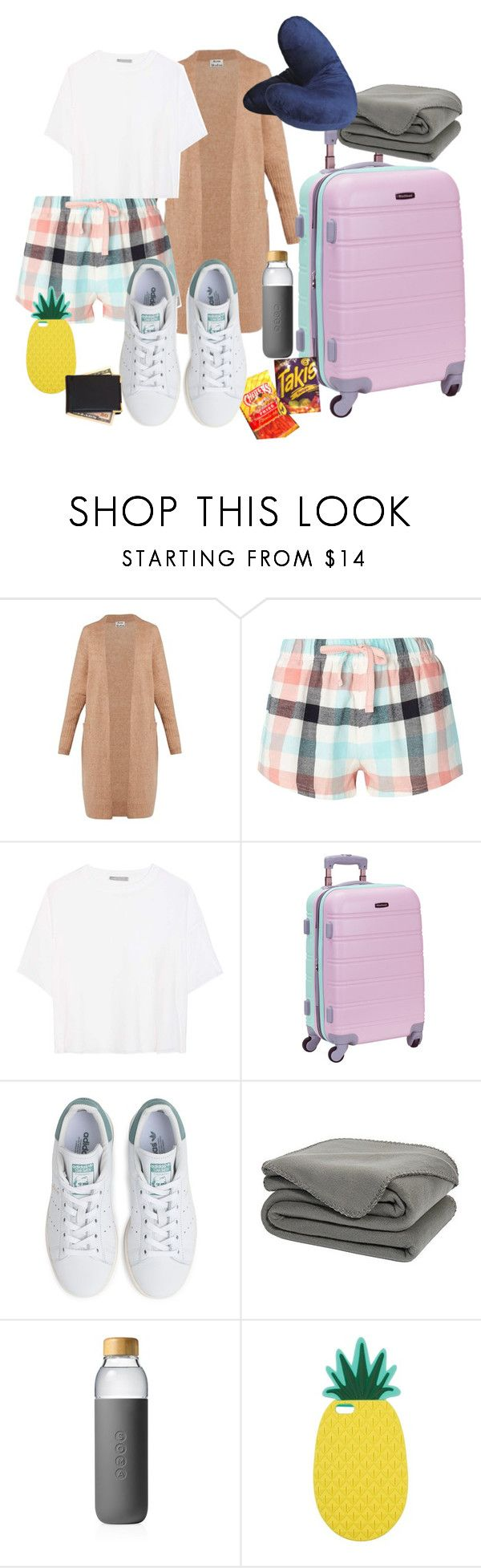 """Night Travel"" by keekeemarie02 ❤ liked on Polyvore featuring Acne Studios, Dorothy Perkins, Vince, Rockland Luggage, adidas, Soma, Miss Selfridge and Royce Leather"