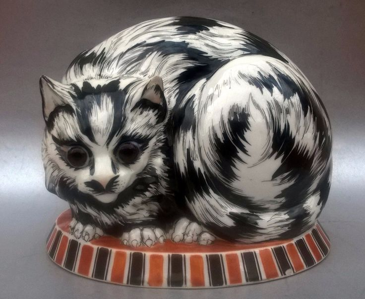 Art Deco Night Lamp Cat French Signed Porcelain Big | eBay