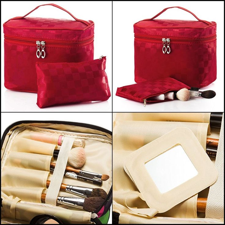 2 Pc Set Cosmetic Toiletry Bags Polyester Fiber Makeup Brush Bags w/ Mirror Red #SHACOS