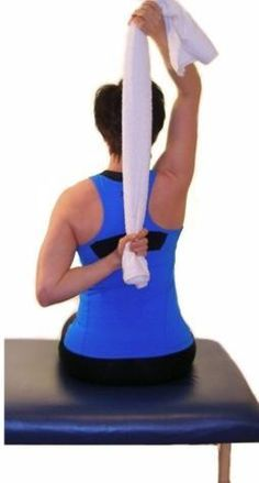 Exercises for Seniors: Hand Behind Back Towel Stretch.....exercises for seniors supraspinatus stretch