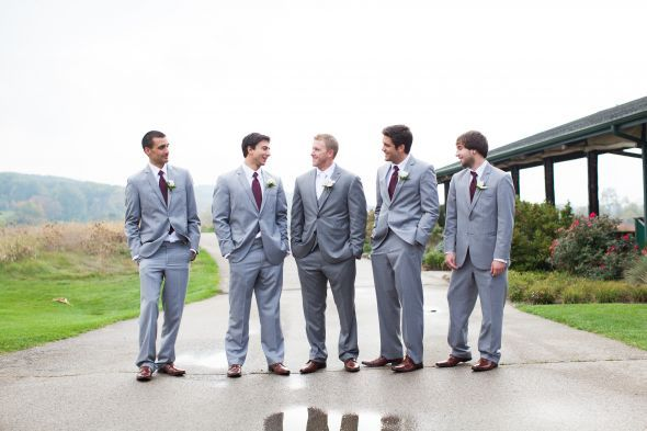 Grey suits, brown shoes. Found on Weddingbee.com inspiration today! Since your third color is silver, having the guys wear these type of suits with teal ties