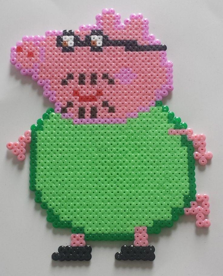 Magnet collection Peppa Pig, Papa cochon en Perle hama : Accessoires de maison par mes-petites-pommes