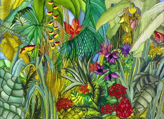 Butterfly in the Garden - Patterns of Leaves, Flowers, and Plants