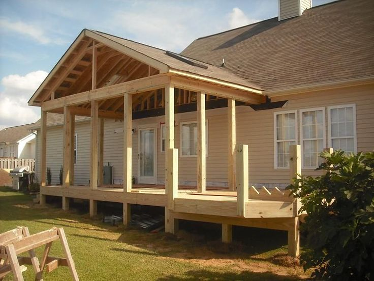 Porch roof framing details pro built construction deck for Balcony roof ideas