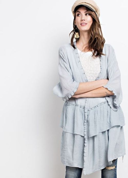 Half Sleeve Double Ruffle Open Cardigan in Blue Grey