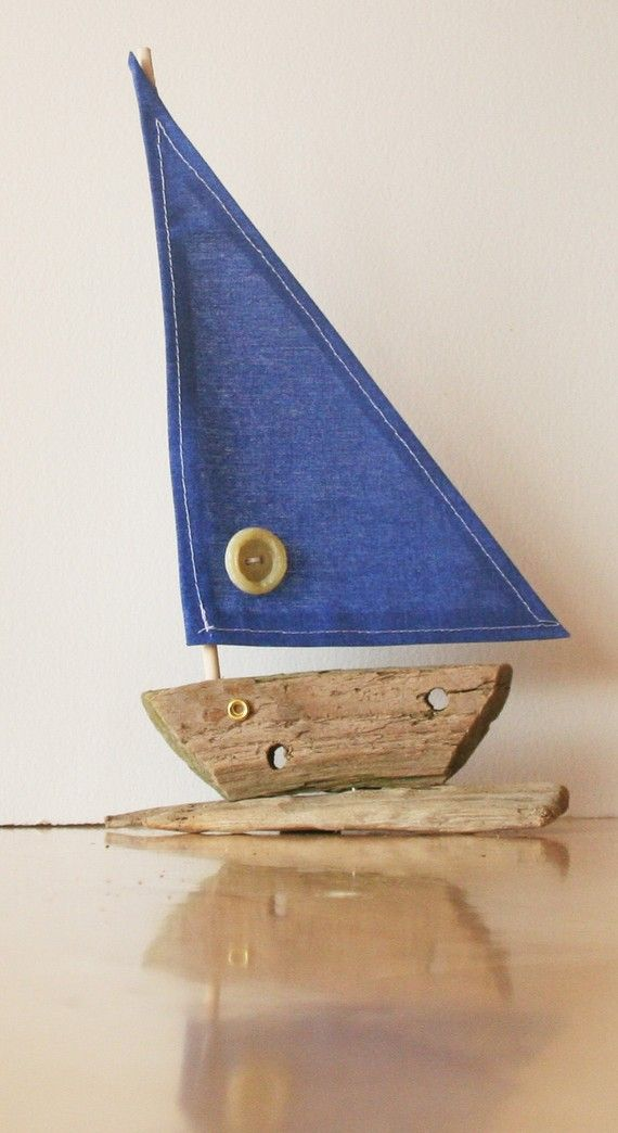 """Driftwood Boat with a """"Blue"""" denim sail"""