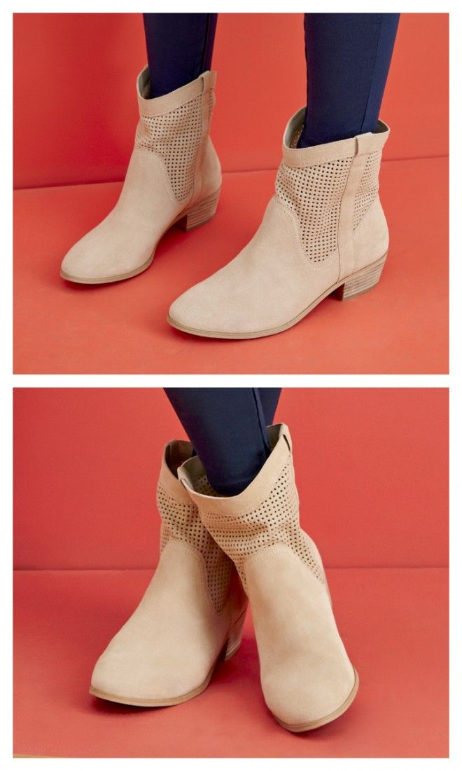 Perforated suede booties with a mini stacked heel and an easy slip-on shape