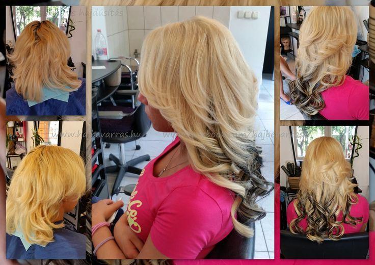 Hajhosszabbítás 50 cm-es európai hajból, 3 soros mikrogyűrűs felvarrással, egy kis feketével megbolondítva.  #hajhosszabbitas #hajdusitas #hairextension www.fb.com/hajbevarras