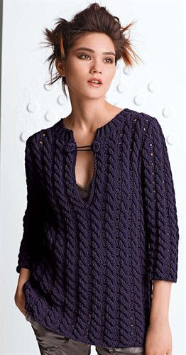 Pretty cabled tunic. Would be wearable in sportweight cotton like omega sinfonia.