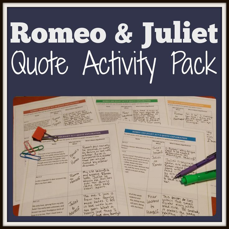 Explore Quotes from Romeo and Juliet Quote, by William Shakespeare, with this Activity Pack! It Contains quote exploration and graffiti activities. This is perfect as a Print and Go activity for students to complete in class, at home, individually, or in cooperative groups! Perfect for lessons in the high school English Language Arts classroom.