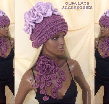 Купить Вязаная шапка и шарфик цветок от Olga Lace - вязаная шапка, цветочная шапка