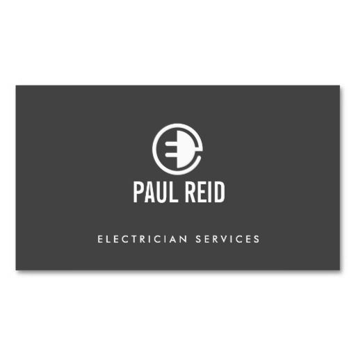 Modern Electrician Logo Gray Business Card. Perfect for contractors, builders, electricians, plumbers, painters and more. Fully customizable and ready to order. customizable business cards | cheap business cards | cool business cards | Business card templates | unique business cards