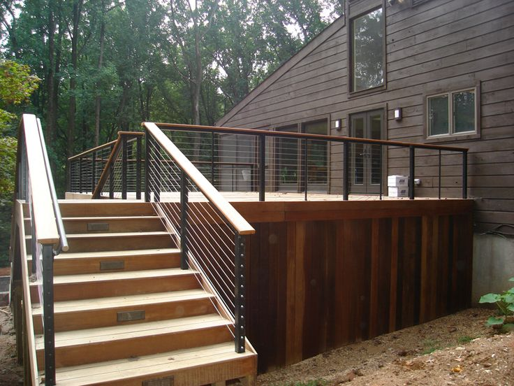 Contemporary deck railing modern cable rails this - Decke modern ...