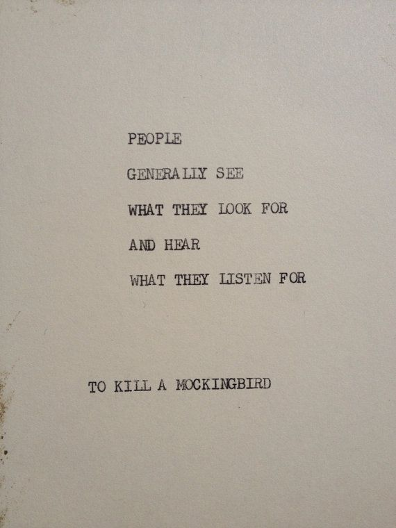 TO KILL A MOCKINGBIRD: Typewriter quote on 5x7 cardstock