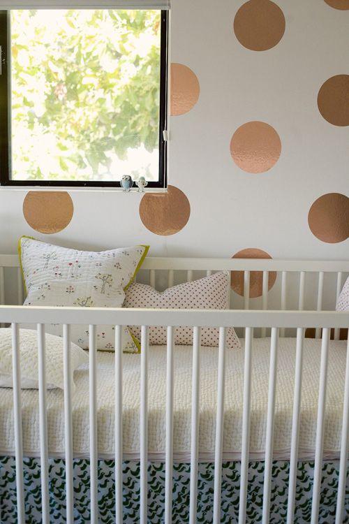 contact paper polka dotsDots Wall, Gold Polka Dots, Nurseries, Paper Polka, Kids Spaces, Contact Paper, Wallpapers Ideas, Baby, Metals Painting Wall Polkadot