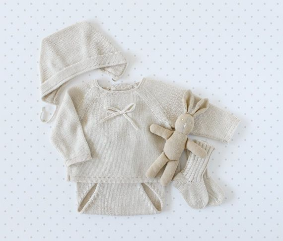 Knit baby pearl set. Sweater diaper cover bonnet by tenderblue, $107.00