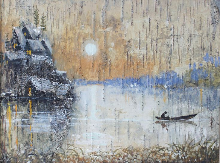 Russia Painting - Early Morning. Fishing On Lake by Ilya Kondrashov  #RussianArtistsNewWave #OriginalArtForSale  #OriginalPainting #IlyaKondrashov #Village #Lake #PaintingonBirchBark #Russia #Painting #HomeDecor