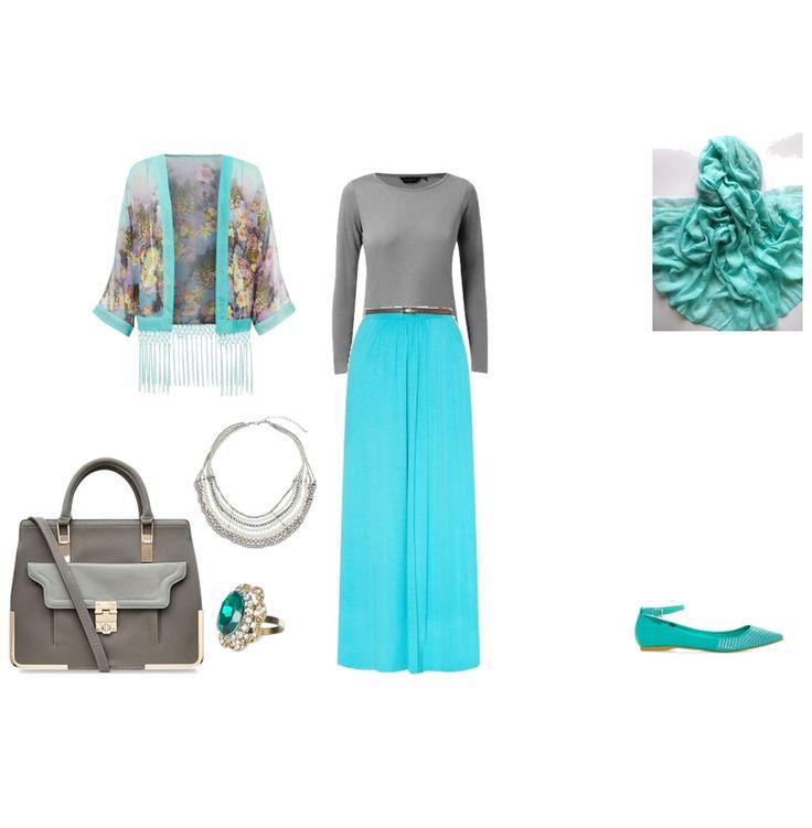 hijabi look , gray and blue sky