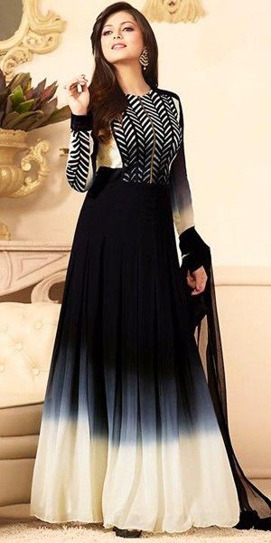 Madhubala Georgette Black Anarkali Suit With Dupatta.