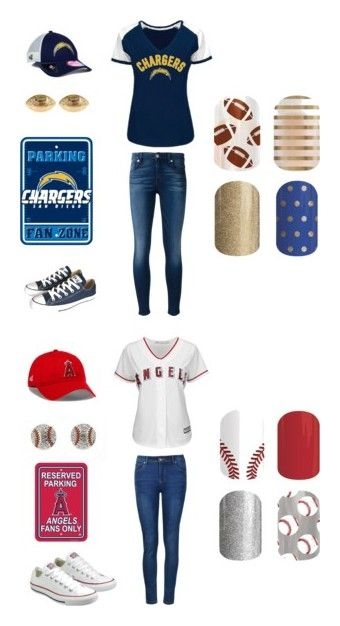 """Jamberry Sports"" by kellie-guravich-medivitz on Polyvore featuring Converse, 7 For All Mankind, New Era, Fornash, Ally Fashion and Majestic"