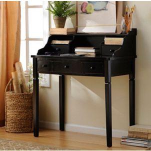 harrison black 5drawer study desk