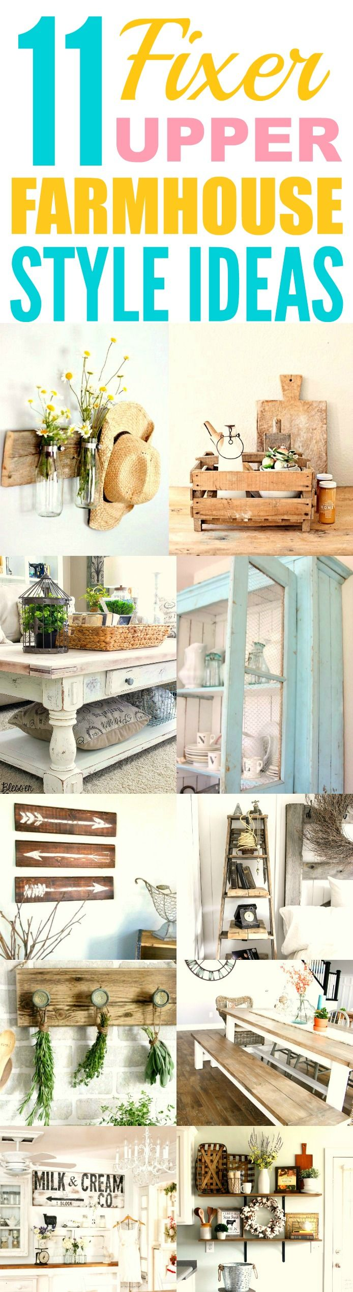 These 11 Fixer upper farmhouse DIY and style ideas are THE BEST! I'm so glad I found these AWESOME decor tips! Now I can finally make my home look like how Chip and Joanne