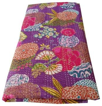 Purple Kantha Stitch Printed Throw asian throws  I think I have just fallen in love with Kantha quilting.  I want to do this!