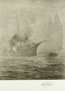 Ships in Fog, Frank French, not dated, wood engraving on rice paper, 5 3/4 in. x 4 3/4 in. Currier Museum of Art.