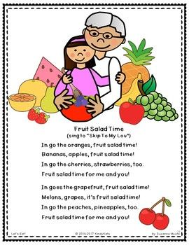 Nutrition Songs and Rhymes | Kids nutrition, Fruit song ...