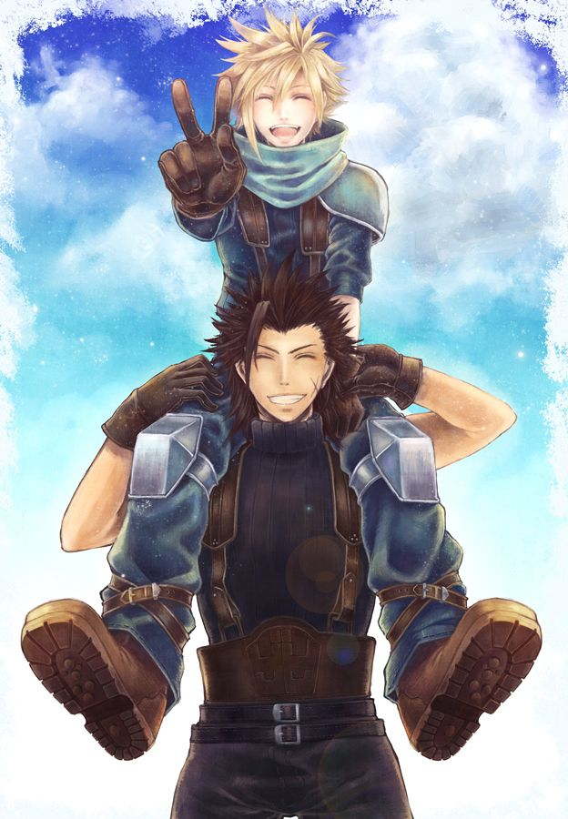 "Cloud and Zack. Am I the only person who can so see this happening?? Like they decide to take a picture and, Zack being Zack, picks Cloud up and puts him on his back and Clouds just like: ""Oh, ok."" and goes with it."