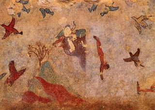Boys climbing rocks and diving - etruscan art 700-200 bc - Tarquinia Italy