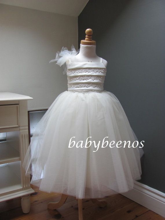 Flower Girl Dress -  Tulle Dress - Bijou - Made to Order Girls Sizes - 2T, 3T, 4T, 5, 6, 7, 8 on Etsy, $128.00