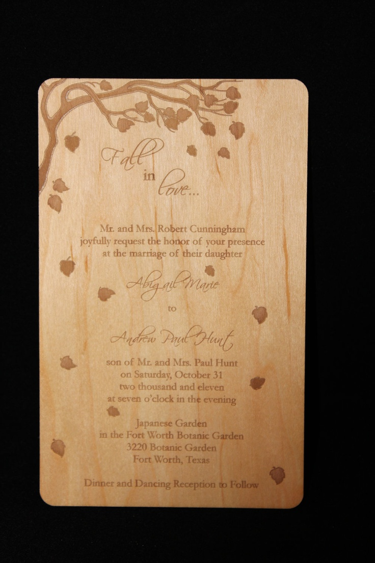 realtree wedding invitations%0A Custom Wooden Invitations         via Etsy  I love the idea of theming a