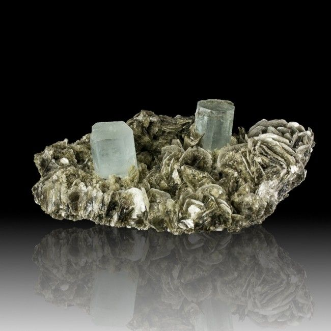 "6.1"" Sky Blue AQUAMARINE 2 Sharp Gemmy Crystals on Muscovite Pakistan for sale - $400"