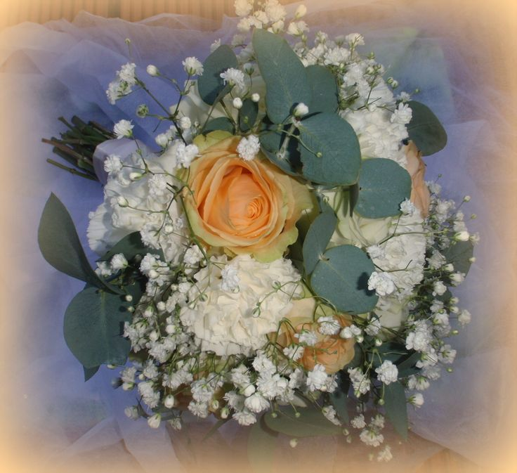 bridal hand tie with a touch of peach