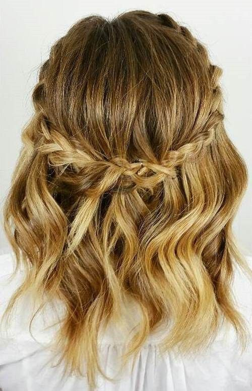 half up wavy bob with a crown braid