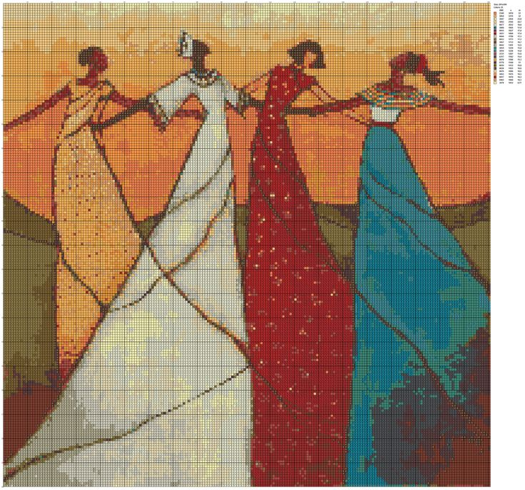 Dancers embrace counted cross stitch kit