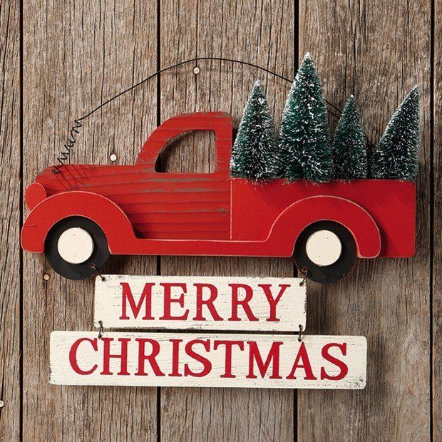 """Merry Christmas Truck Sign @ AFH.com $24.00 SOLD OUT A red retro truck is filled with Christmas trees and hanging below is """"Merry Christmas."""" ThisMerry Christmas Truck Signhas a homey feel like it is heading home for the holidays. A curly wire lets you hang this wood sign easily and enjoys its simple charm. Made of wood.Dimensions: 15"""" x 12.5"""" H."""
