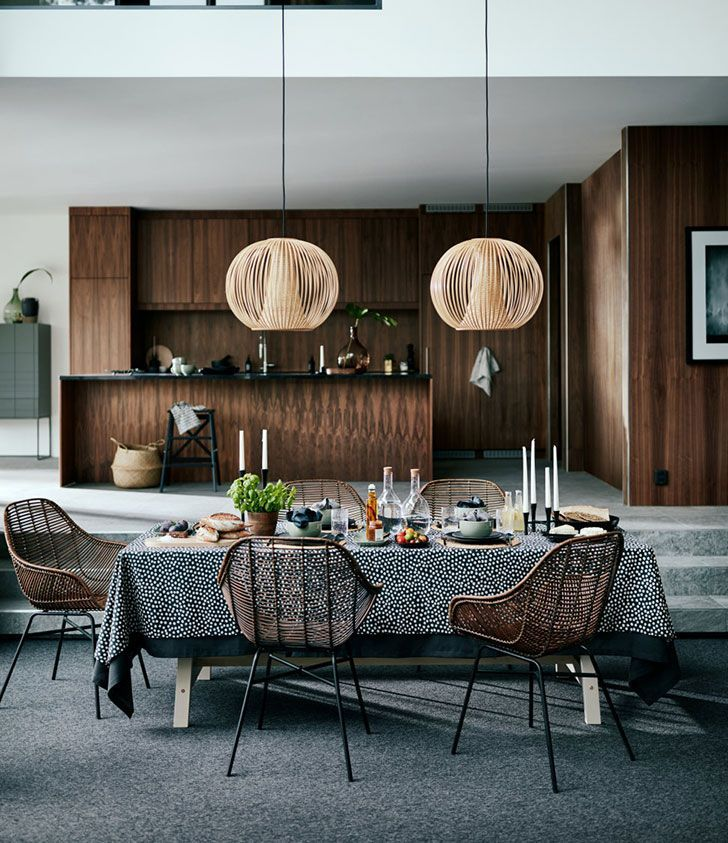 Botanical motifs in the new collection Warm Minimalism by H&M Home #interior #design #Home #decor #cozy #style #room #idea #inspiration  #kitchen #wooden #dining #room #table #minimalist #contemporary #chair