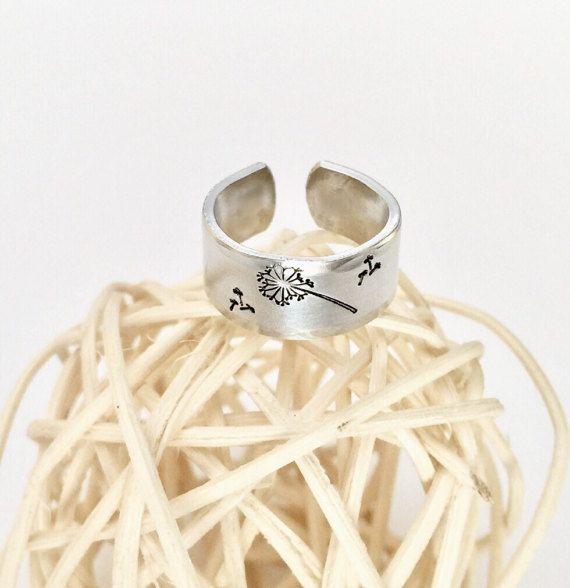 Dandelion Wish Ring Dandelion Hand stamped by AprilHyltonDesigns