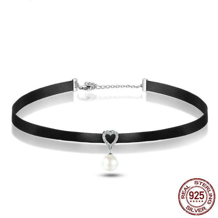 Collana nera con Cuore in zirconi e perla sterling silver 925 di 31+7cm disney perfetto regalo per nozze e donne con stile e charm CN070 di OceanBijoux su Etsy