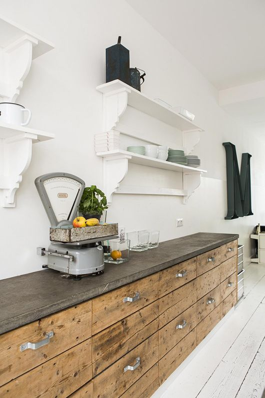 faade cuisine cuisine beton jour 3 cuisine vintage moderne plan de travail comptoir rangements appartement manger