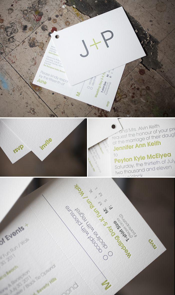 Modern letterpress wedding invitation booklet with tear-out rsvp postcard!