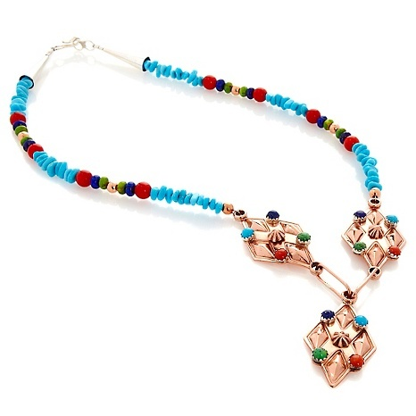 Chaco Canyon SW Turquoise and Multigem Copper Necklace