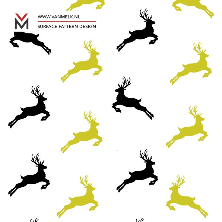 Deer black and gold, surface pattern design, christmas wrapping, textile design, wallpaper