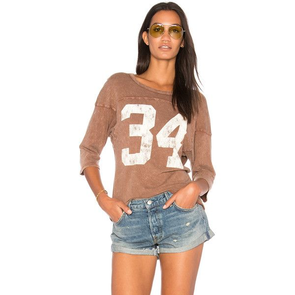 Project Social T 34 Tee ($59) ❤ liked on Polyvore featuring tops, t-shirts, graphic tees, graphic design t shirts, beige top, graphic design tees and beige t shirt