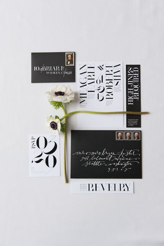 Beautifully modern, black and white, typographic wedding suite  Celebration Inspiration from Chavelli Tsui | www.chavelli.com