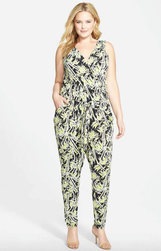 ea7e0af428a MICHAEL KORS Black   Green Bamboo Print Matte Jersey Sleeveless Jumpsuit 3X   fashion  clothing