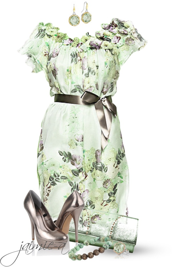 """""""Minty Floral Dress w/ Bow Trim"""" by jaimie-a on Polyvore"""